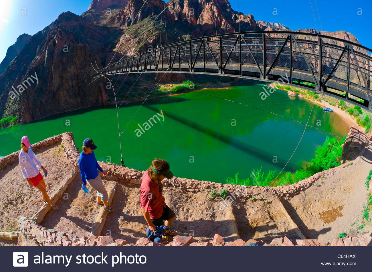 Kaibab Suspension Bridge, Whitewater rafting trip on the Colorado River in Grand Canyon, Grand Canyon National Park, Stock Photo