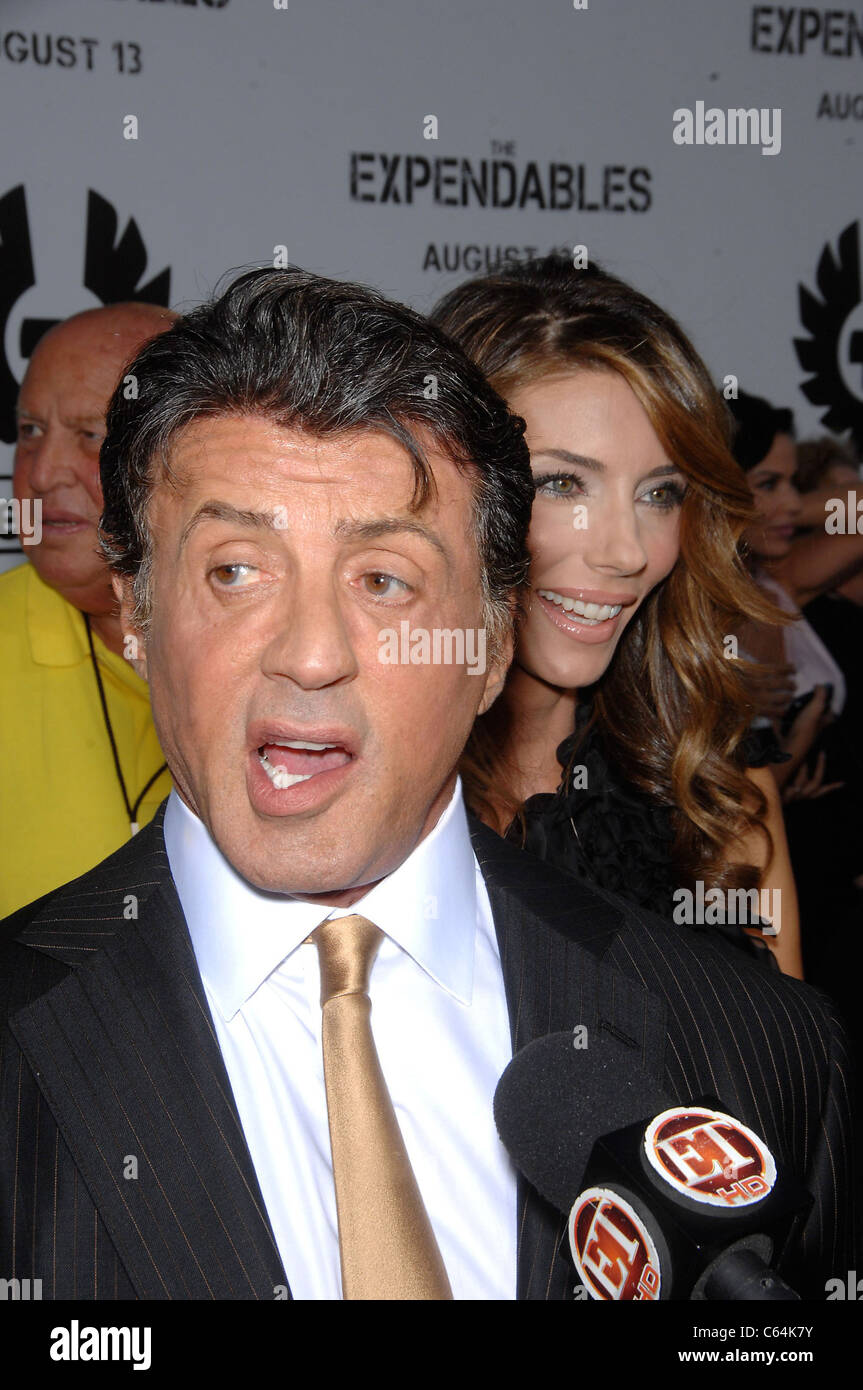 Sylvester Stallone, Jennifer Flavin at arrivals for THE EXPENDABLES Premiere, Grauman's Chinese Theatre, Los - Stock Image