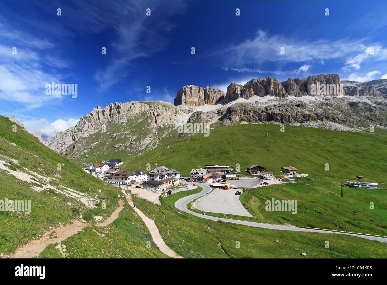 Pordoi pass between Arabba and Canazei, Italian Dolomites - Stock Image