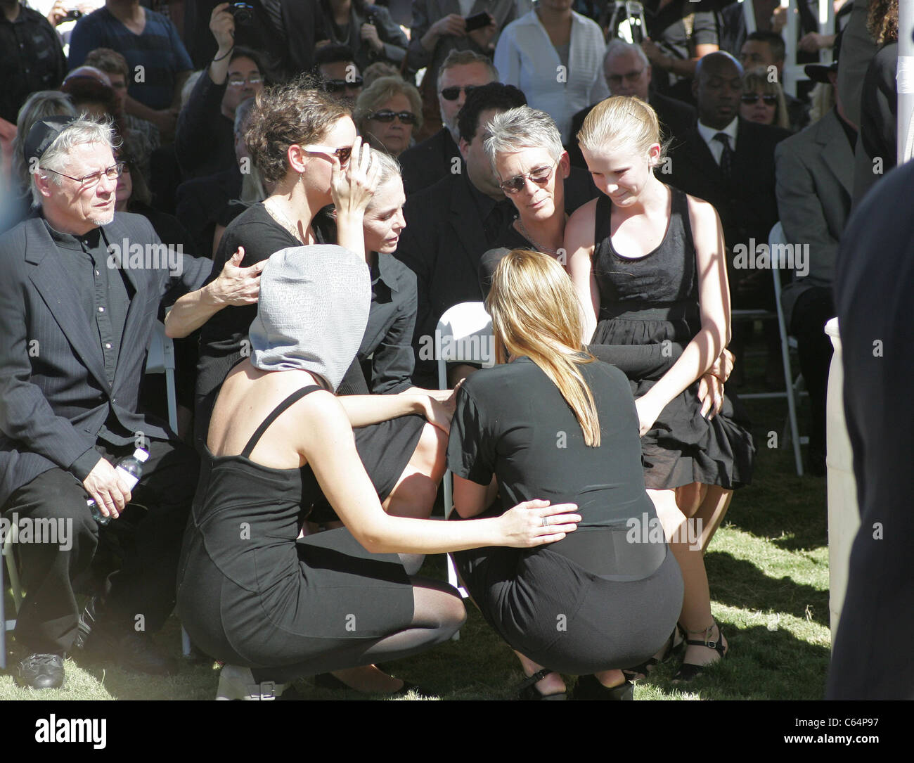 jaime lee curtis at a public appearance for funeral services for