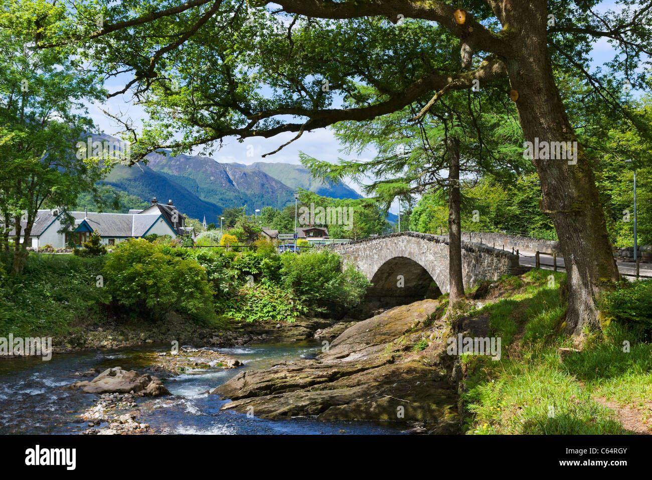 Bridge over the River Coe in the village of Glencoe, Glen Coe, Scottish Highlands, Scotland, UK. Scottish landscape Stock Photo
