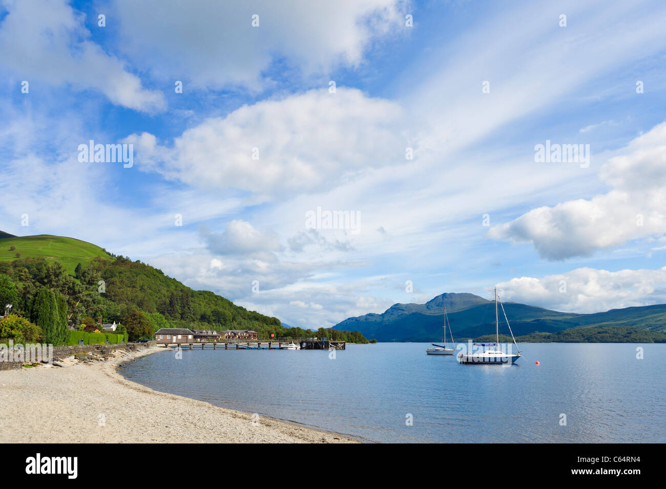 The Beach at Luss on the west bank of Loch Lomond, Argyll and Bute, Scotland, UK - Stock Image