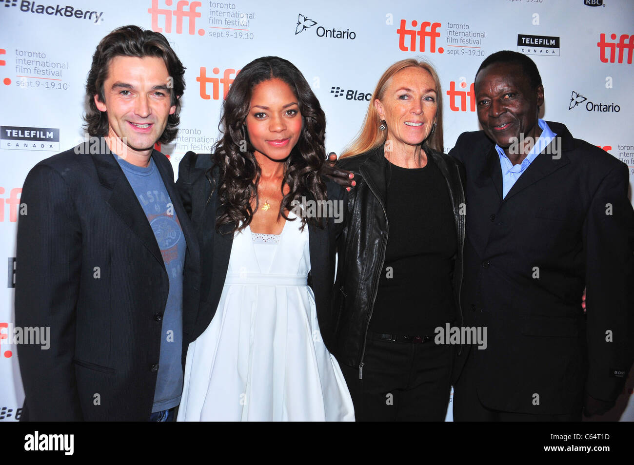 Justin Chadwick, Naomi Harris, Anne Peacock, Oliver Litondo at arrivals for FIRST GRADER Premiere at Toronto International - Stock Image