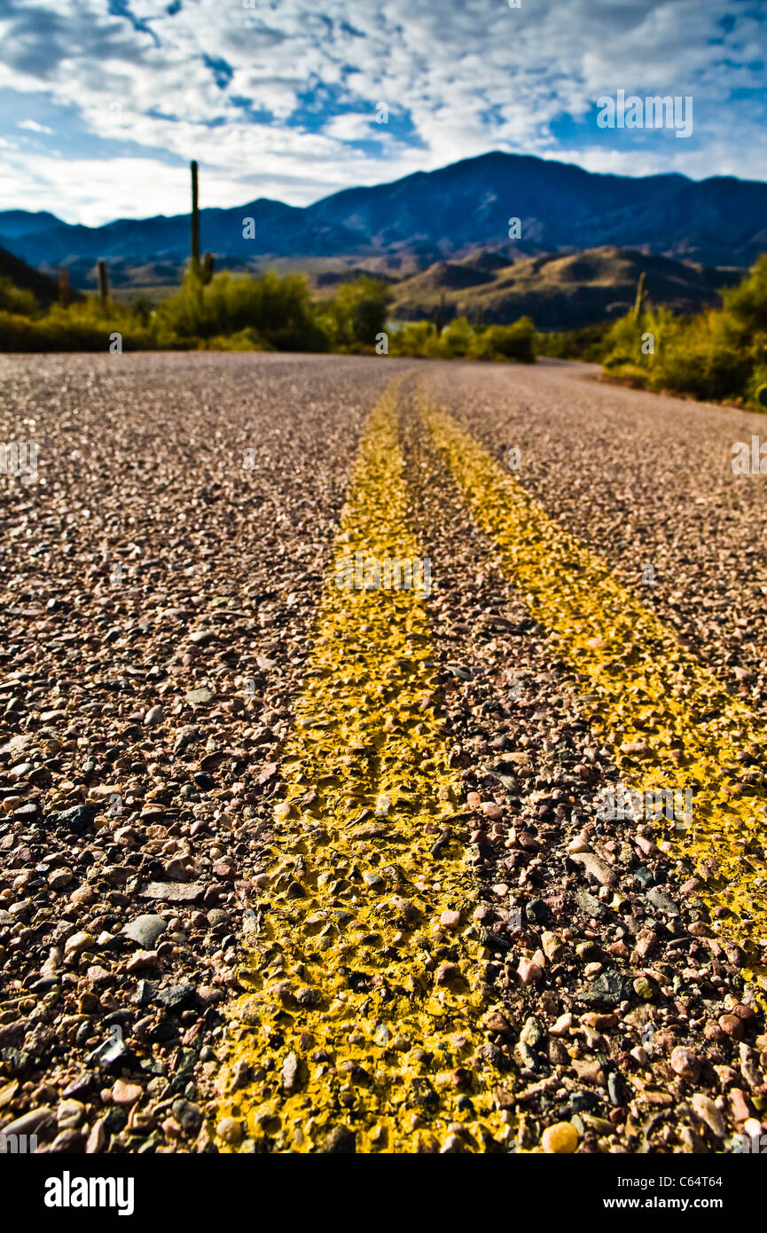 A desert road leading down to Apache Lake in the Tonto National Forest. Double yellow strips. - Stock Image