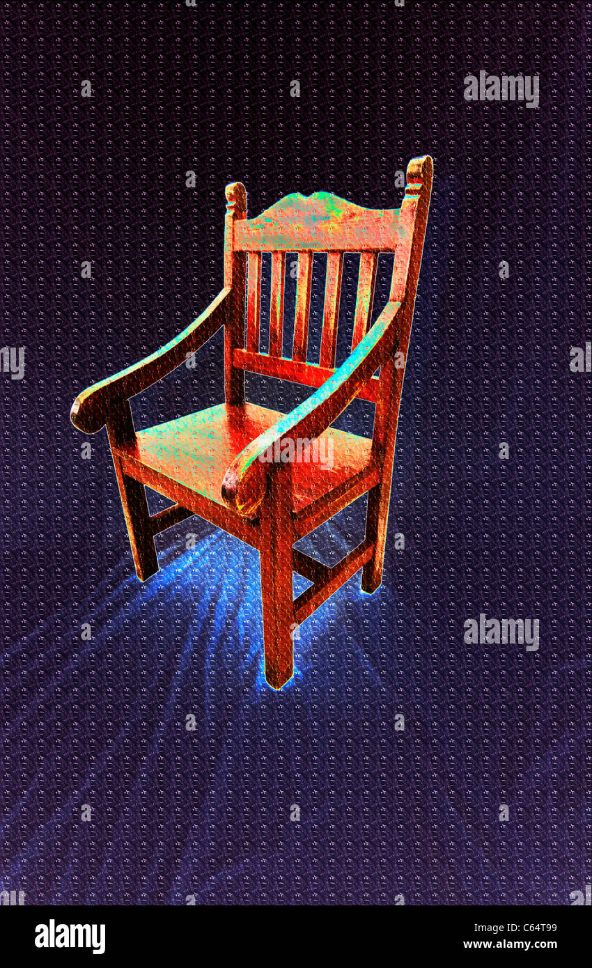 Hand crafted red wooden chair. Photo shopped. - Stock Image