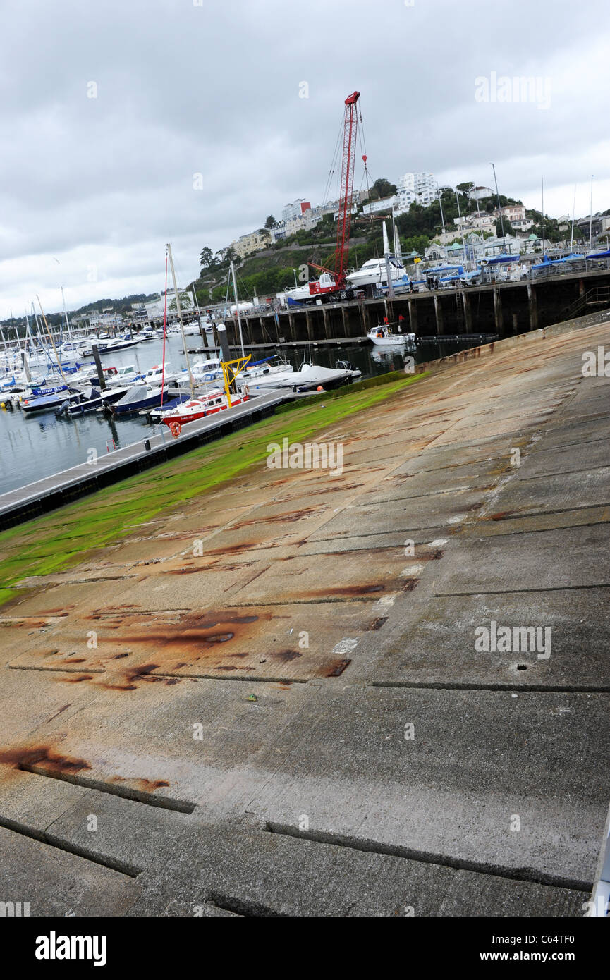 D-day Embarkation Slipways at Torquay in Devon - Stock Image