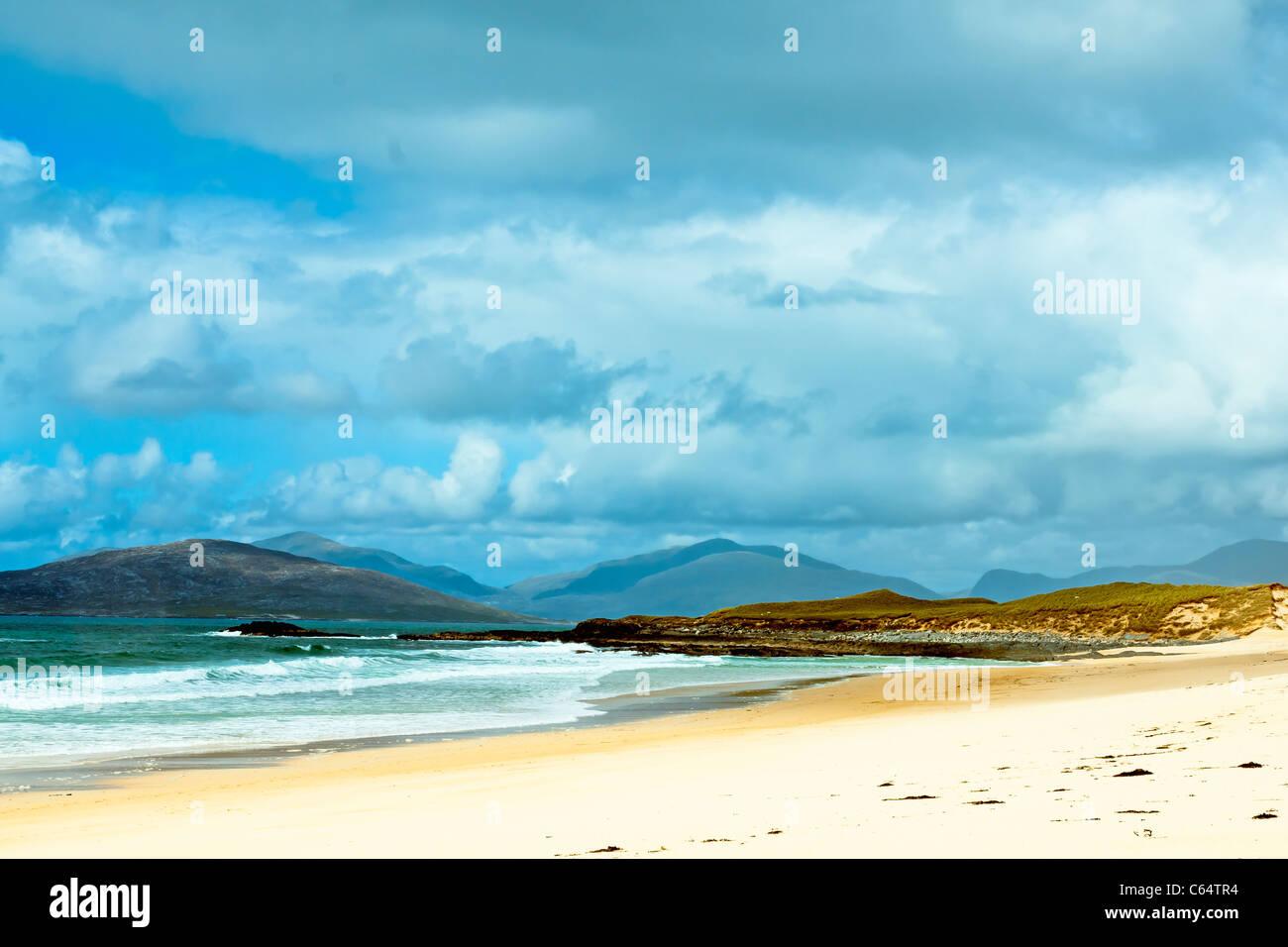Landscape, Traigh Mhor beach, South Harris, Western Isles, Scotland - Stock Image