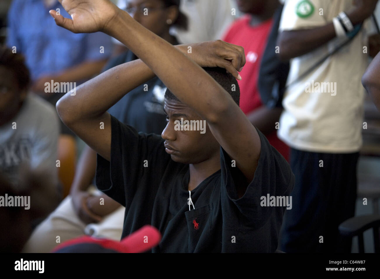 Students from the Detroit Community School  participate in a motivational summer program of work and self exploration. - Stock Image