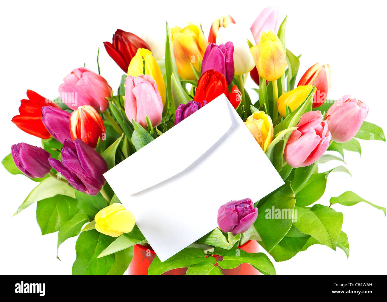 Floral gif stock photos floral gif stock images alamy colorful bouquet of fresh tulips with white card stock image izmirmasajfo