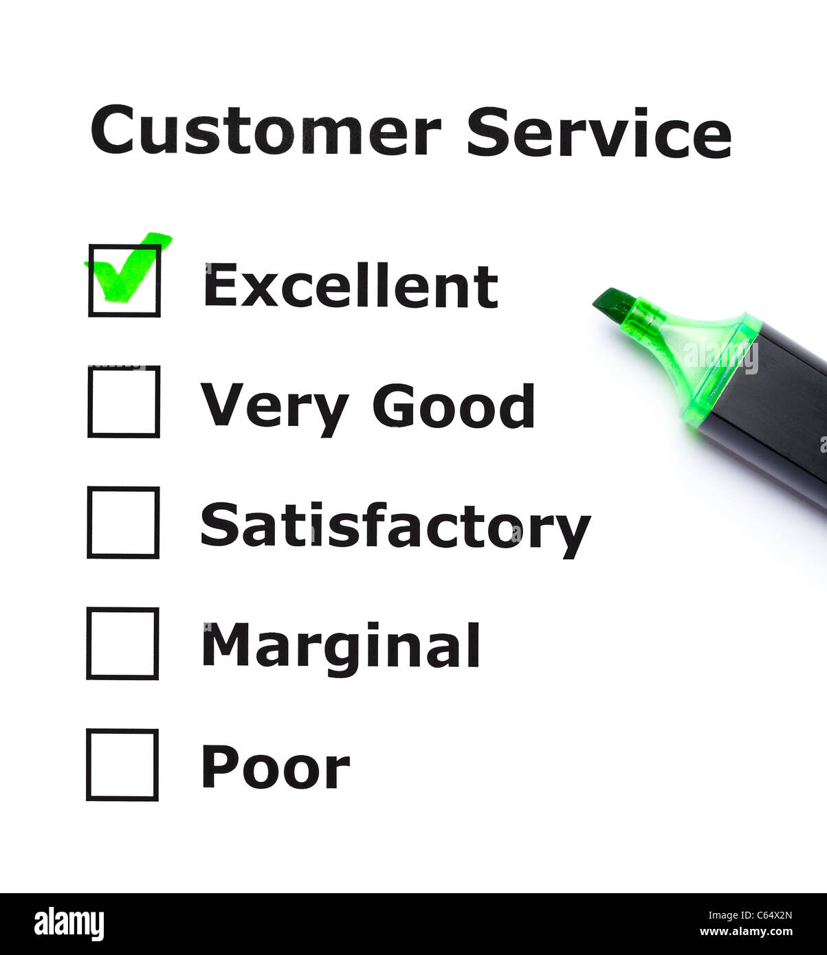 Customer service evaluation form with green tick on Excellent with felt tip pen. - Stock Image