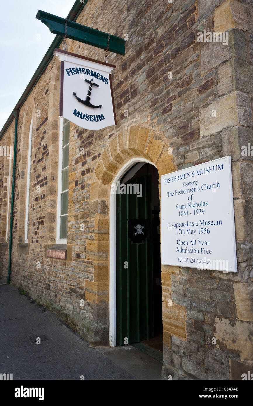 Hastings Fishermen's Museum, external view from Rock-a-Nore Road. - Stock Image