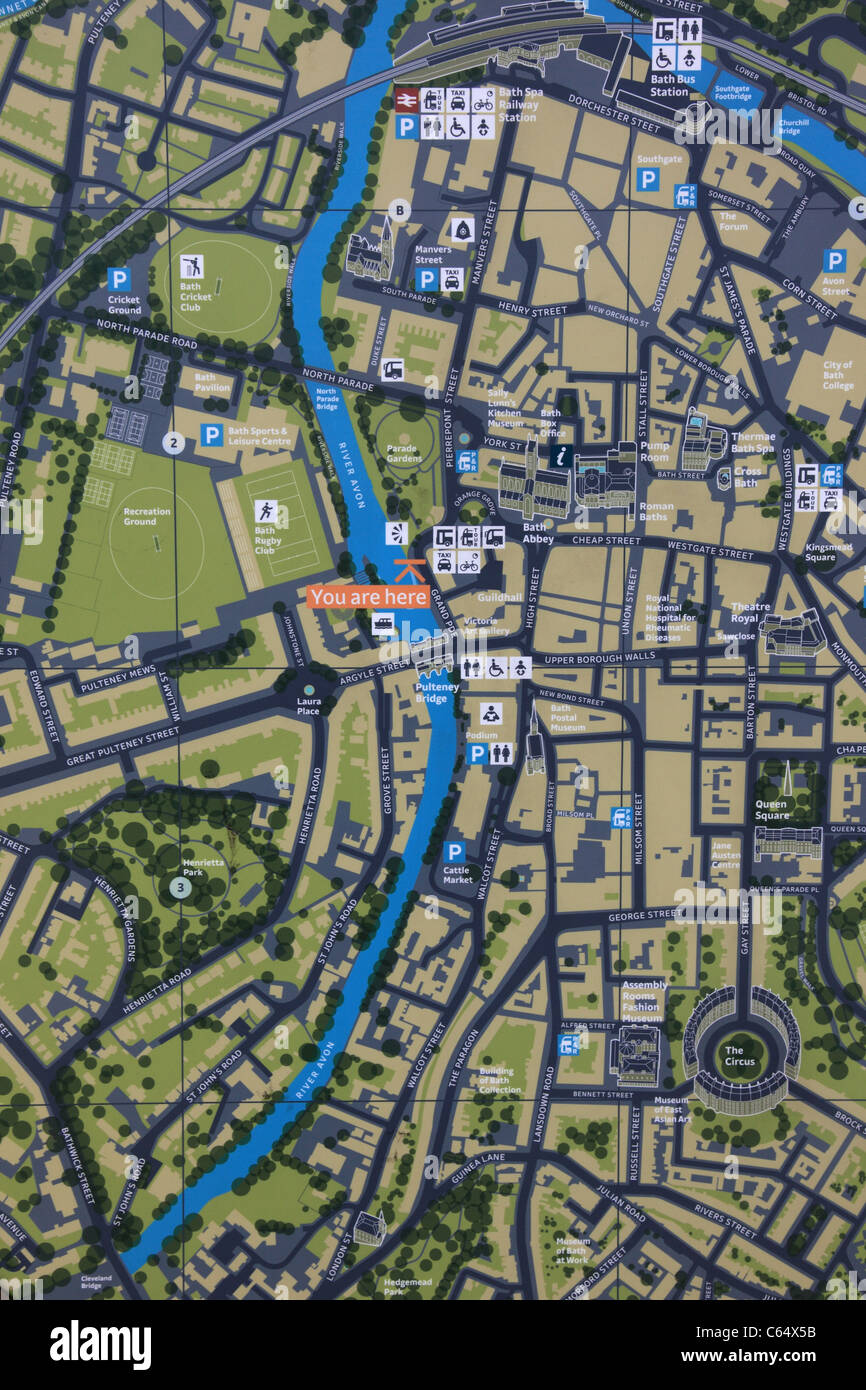 Tourist Map Of Bath Close Up Situated In North Parade Bath