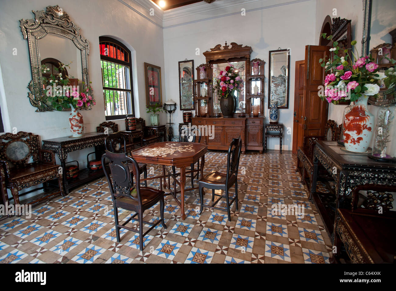 Interior of the Peranakan Mansion, George Town, Penang Malaysia - Stock Image