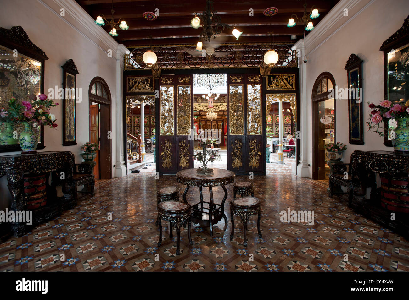 Front Hall Reception Room in the Peranakan Mansion, George Town, Penang Malaysia - Stock Image