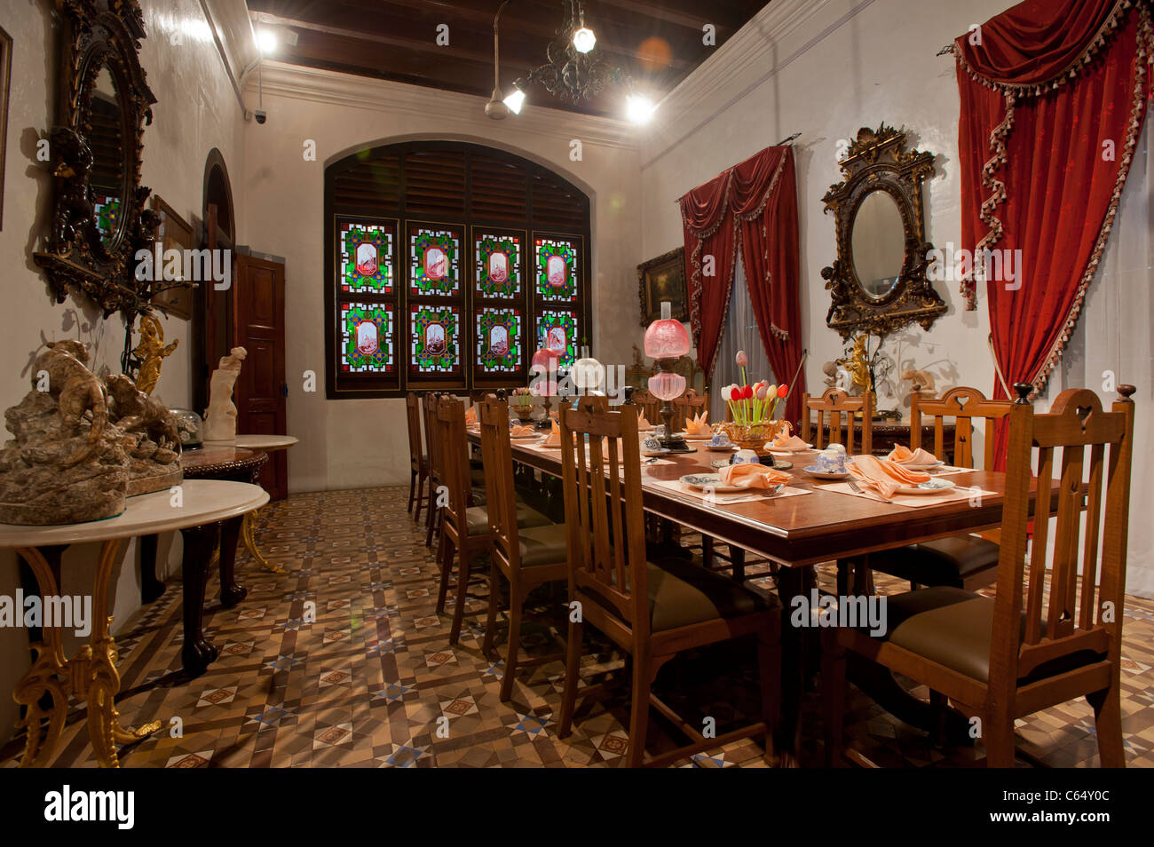 Dining Room in the Peranakan Mansion, George Town, Penang Malaysia - Stock Image