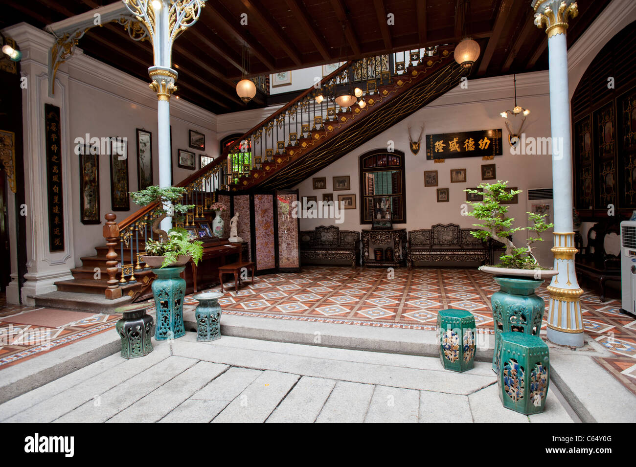 Main Entrance Hall and Staircase in the Peranakan Mansion, George Town, Penang Malaysia - Stock Image