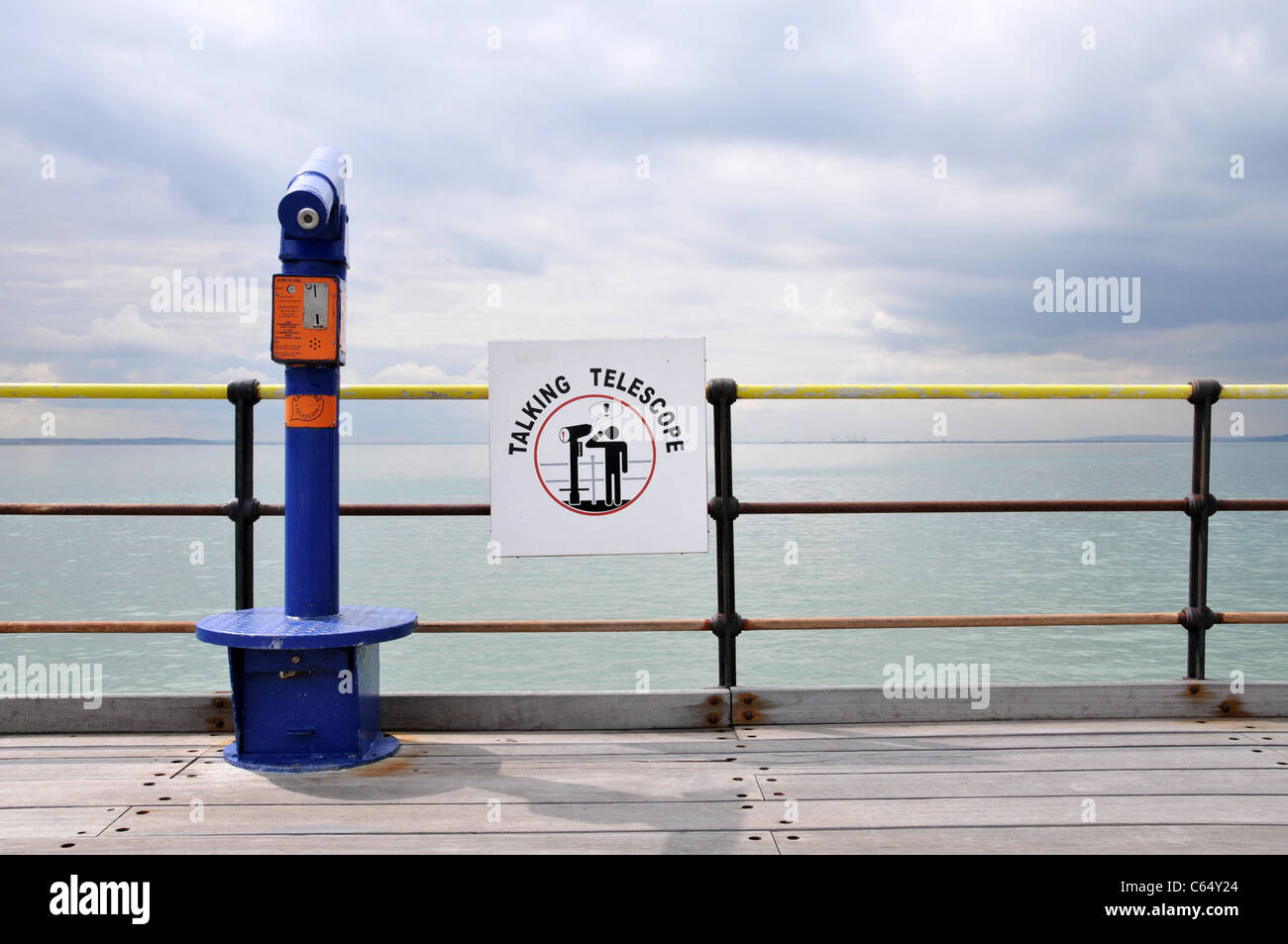 Southend Pier sea sky cloudy seaside English holiday resort day trip London - Stock Image