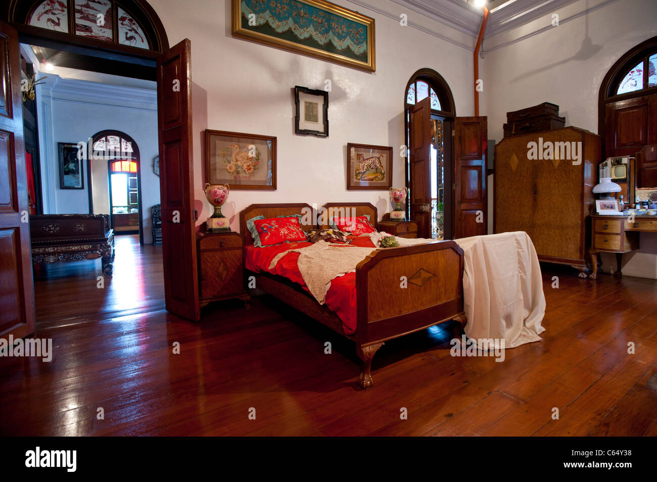 Master Bedroom in the Peranakan Mansion, George Town, Penang Malaysia - Stock Image