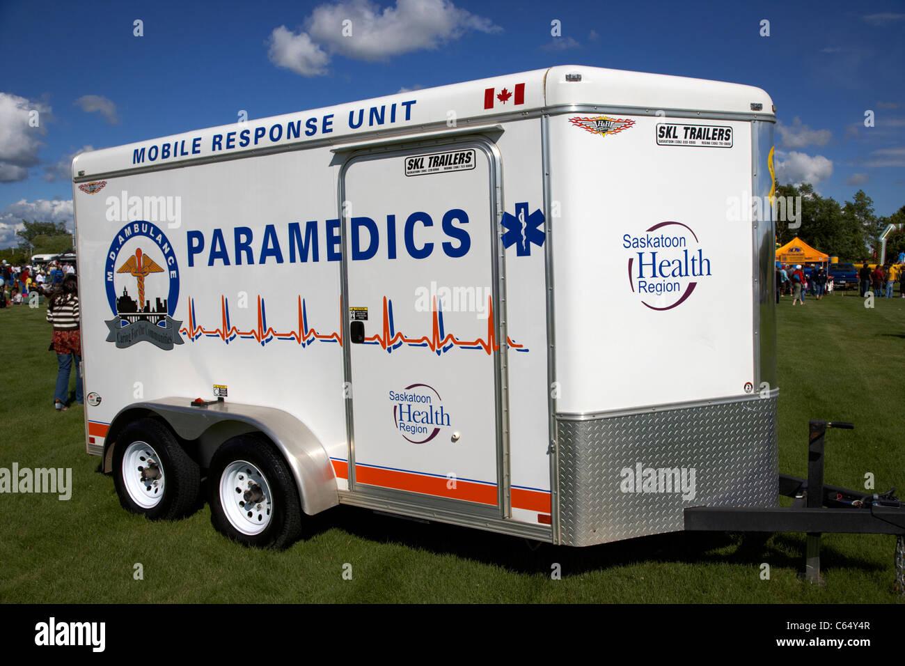 Saskatoon health region mobile response unit trailer paramedics Saskatchewan Canada - Stock Image