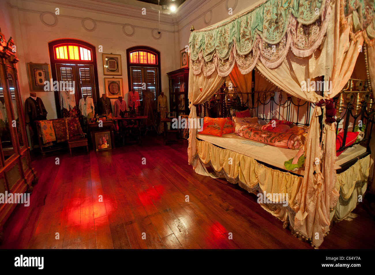 Bedroom in the Peranakan Mansion, George Town, Penang Malaysia - Stock Image