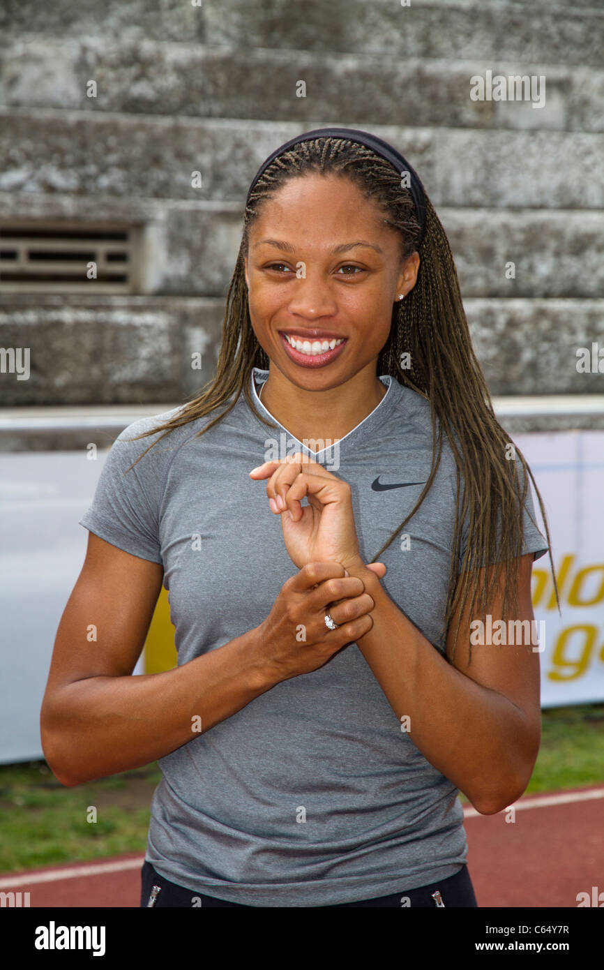 Allyson Felix athlete close-up before the Golden Gala of Rome 2011 - Stock Image
