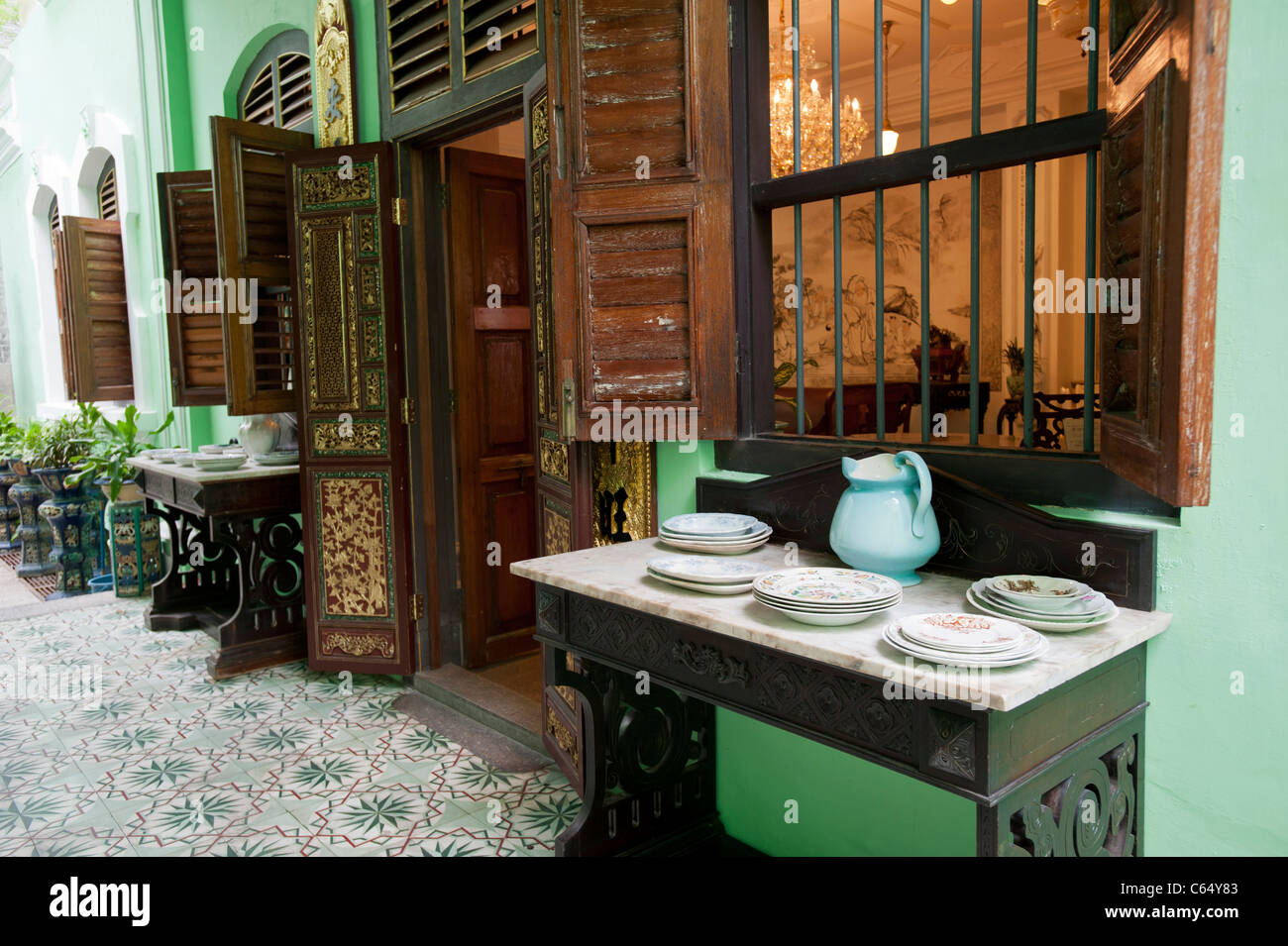 Kitchen Area in the Peranakan Mansion, George Town, Penang Malaysia - Stock Image