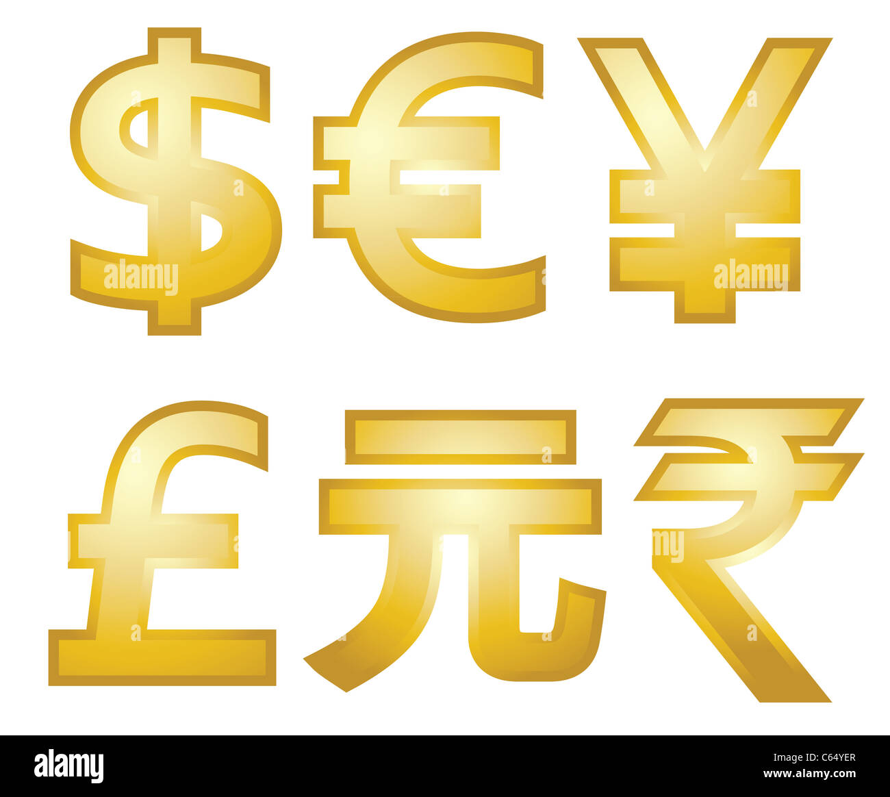 All Major Currency Symbols In Gold Dollars Euro Pounds Yen Yuan