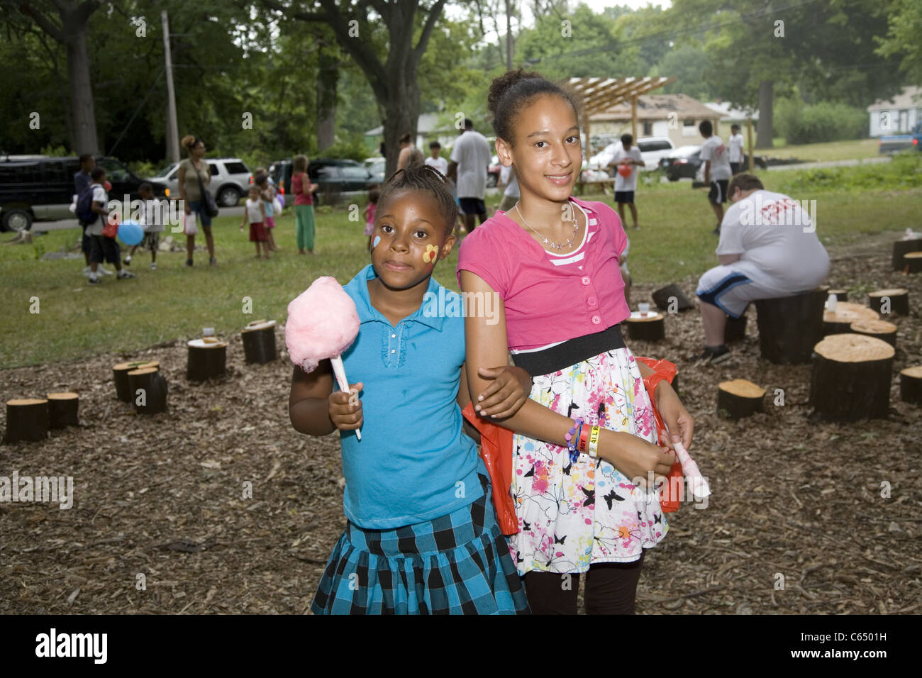 Portrait of children from the rundown Brightmoor section of Detroit, MI at a community picnic in this inner city - Stock Image