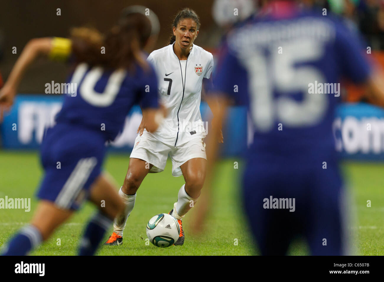 Shannon Boxx of the United States looks for space against Japan during the FIFA Women's World Cup final July - Stock Image