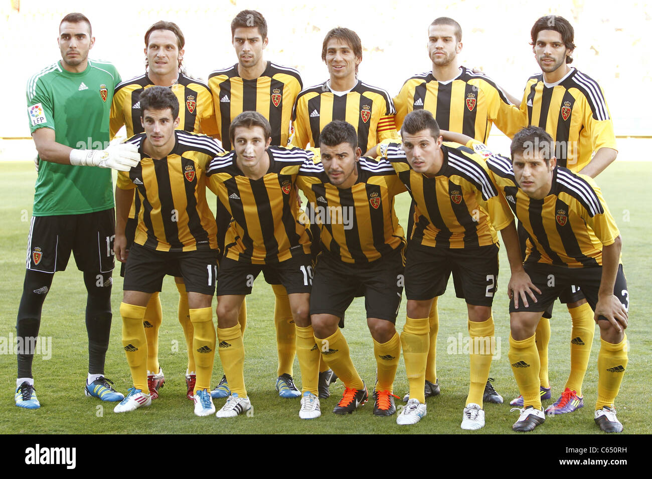 Zaragoza team group line-up performing for Pre season match between Numancia and Zaragoza. - Stock Image