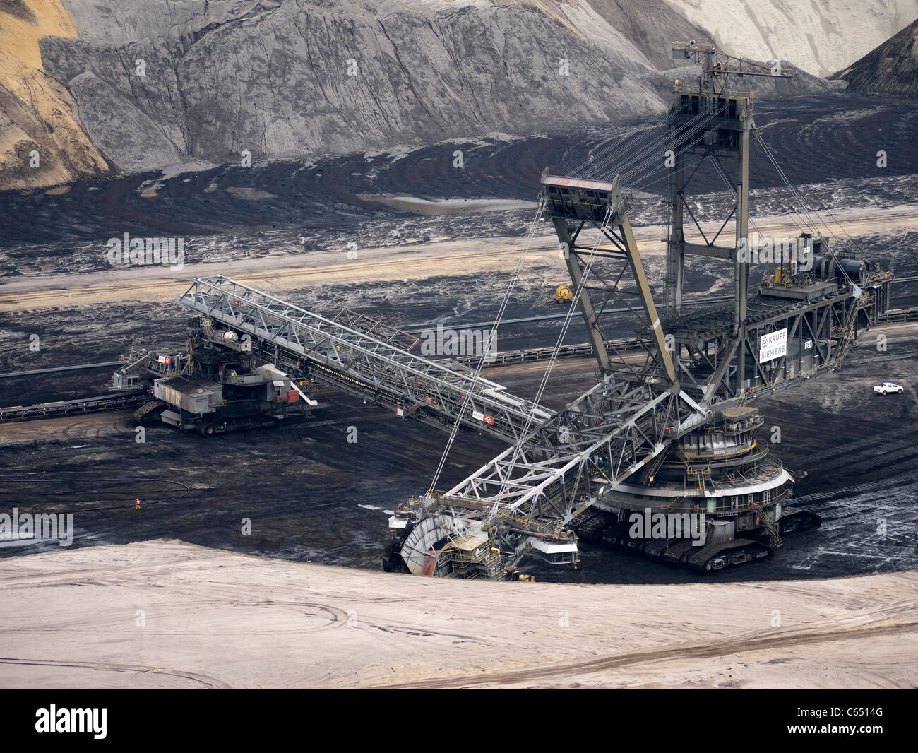 Large excavating machines working at Garzweiler open cast coal mine in Germany Stock Photo