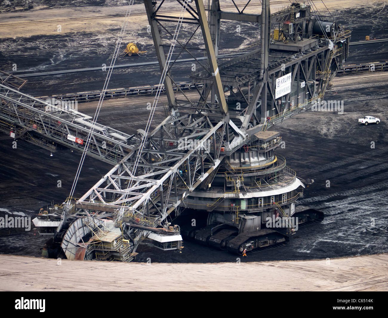 Large excavating machines working at Garzweiler open cast coal mine in Germany - Stock Image