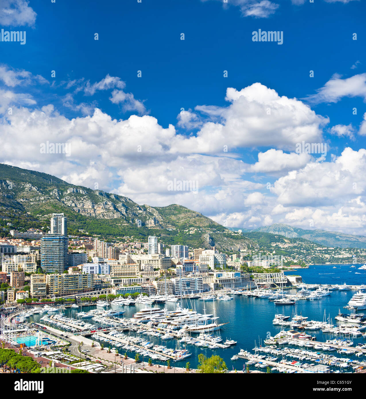 panoramic view of Monaco with the famous swimming pool and harbour - Stock Image
