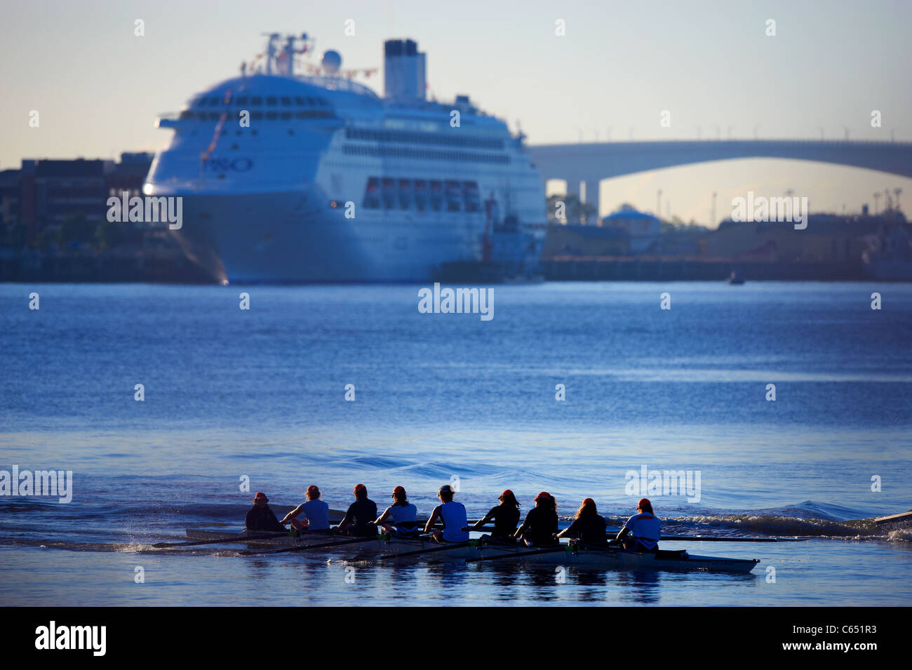 Rowing 8 on the Brisbane River Queensland Australia - Stock Image