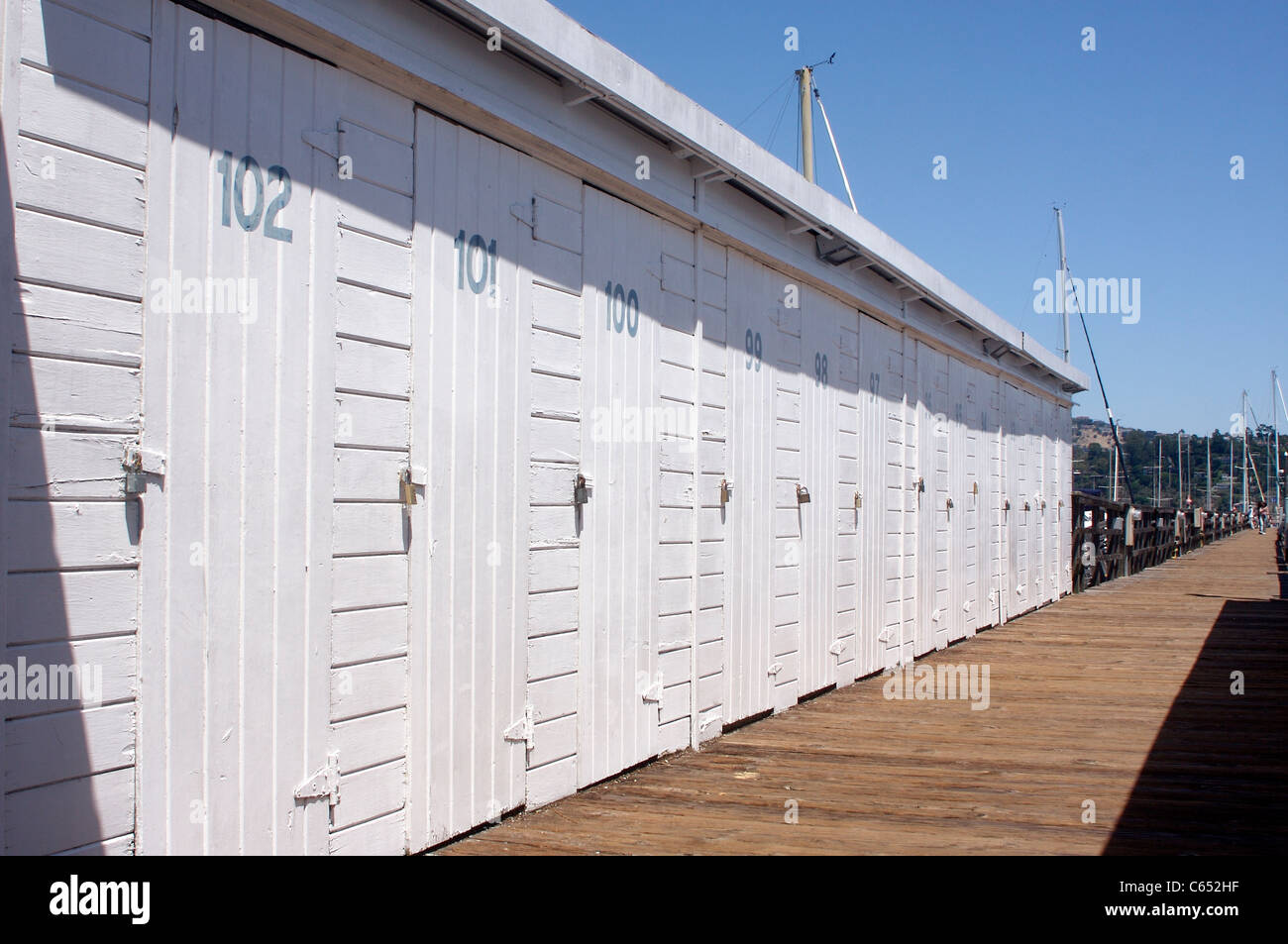 Beau Storage Lockers Along The Deck Of A Marina In Sausalito ...