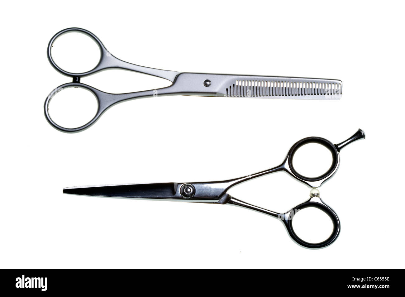 Special scissors for work of hairdresser - Stock Image