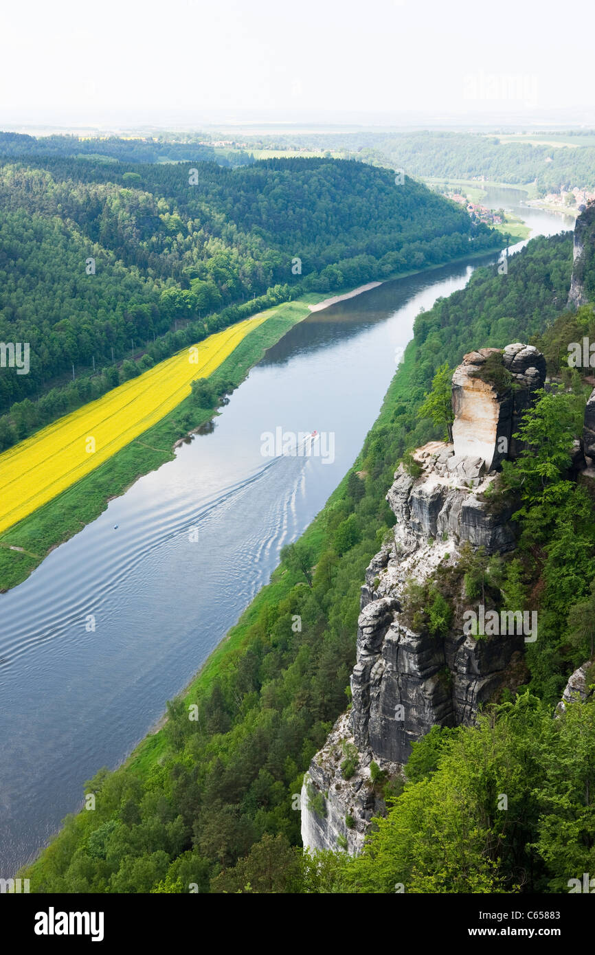 River Elbe from Bastei Rocks, Saxon Switzerland, Dresden, Germany - Stock Image