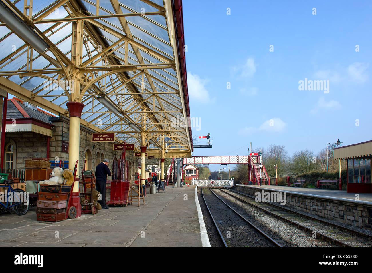 Platform at Ramsbottom Station on the East Lancs Railway - Stock Image