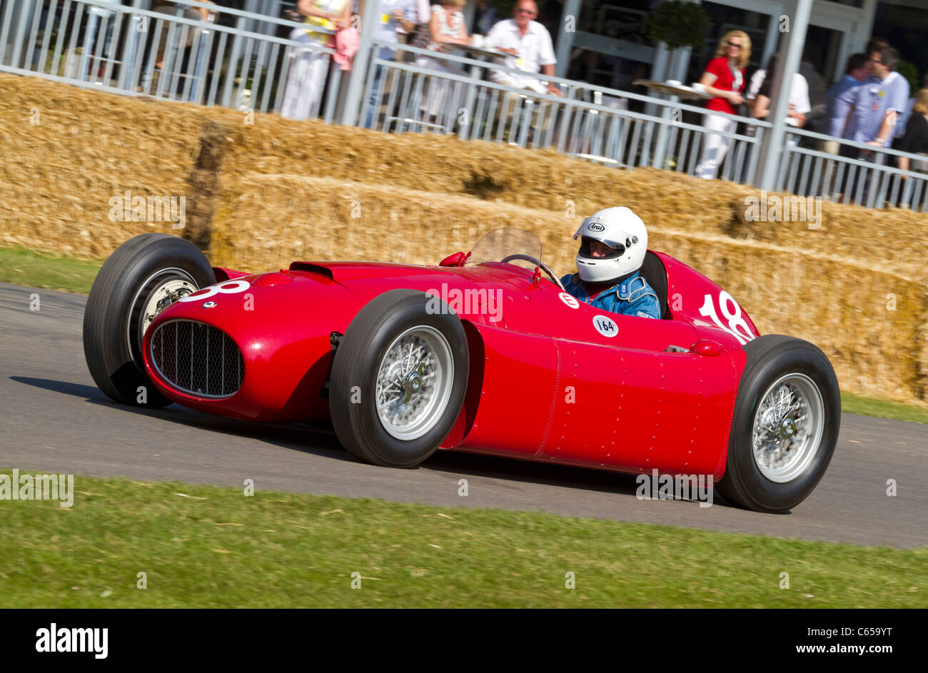 1954 type Lancia D50 with driver Eberhard Thiesen at the 2011 Goodwood Festival of Speed, Sussex, England, UK - Stock Image
