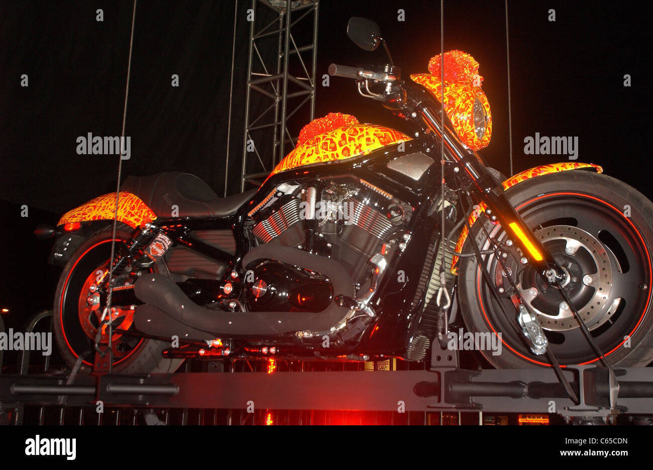 Cosmic Harley in attendance for Unveiling of Cosmic Starship Harley Davidson Motorcycle, Bartels' Harley Davidson - Stock Image