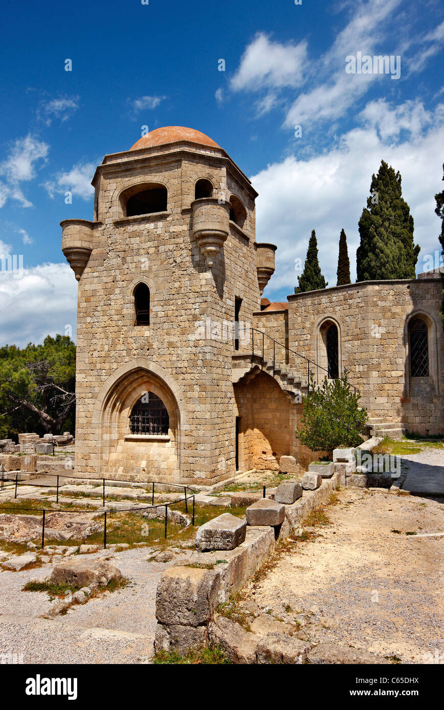 Partial view of the monastery of Filerimos, close to Trianta village, Rhodes island, Dodecanese, Greece. - Stock Image