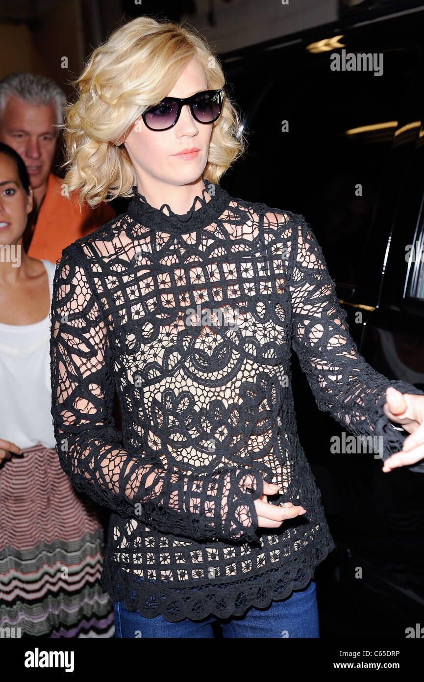January Jones, visits 'Live With Regis And Kelly' out and about for CELEBRITY CANDIDS - THURSDAY, , New - Stock Image