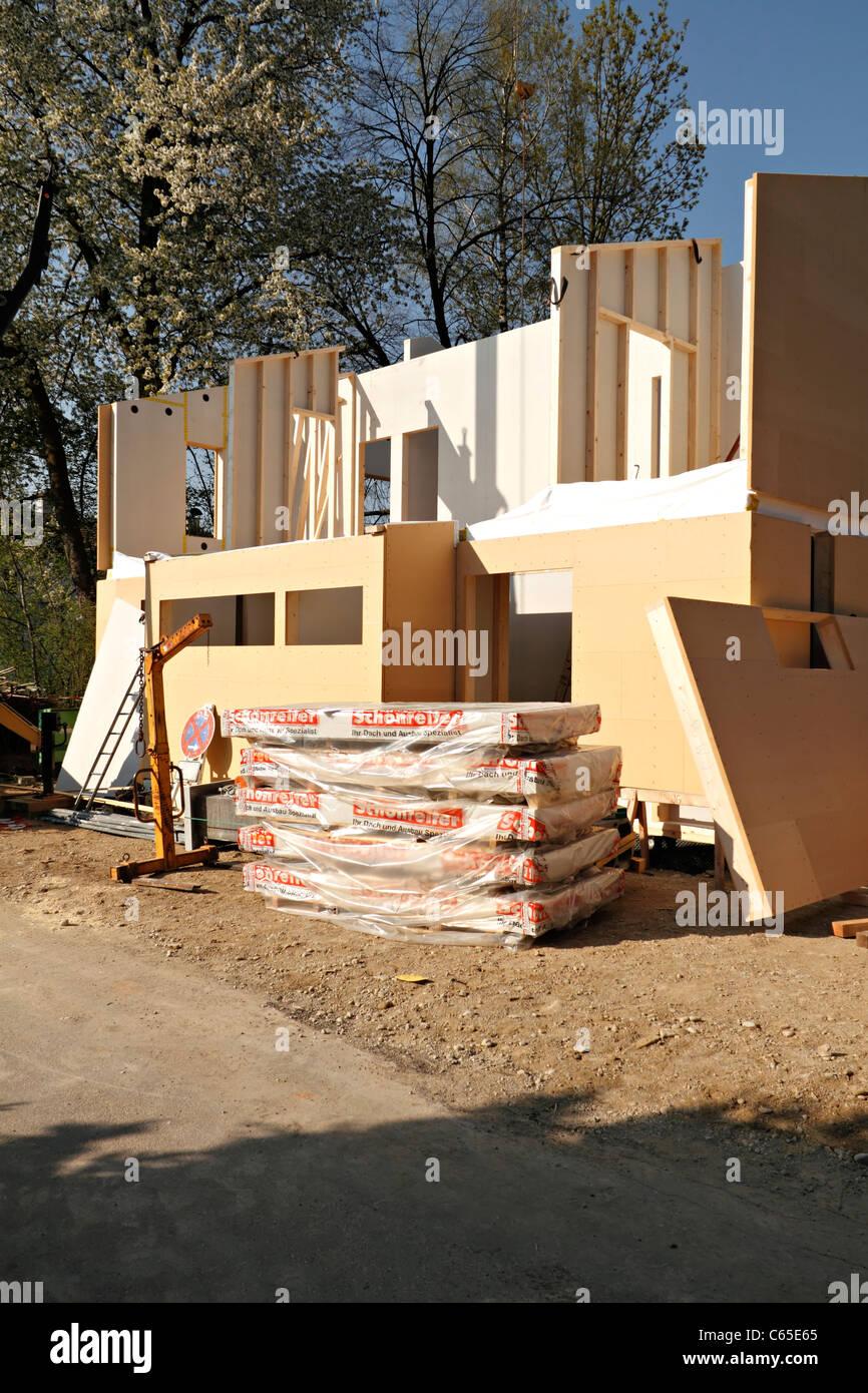 Biological kit home under construction, Chiemgau Upper Bavaria Germany - Stock Image