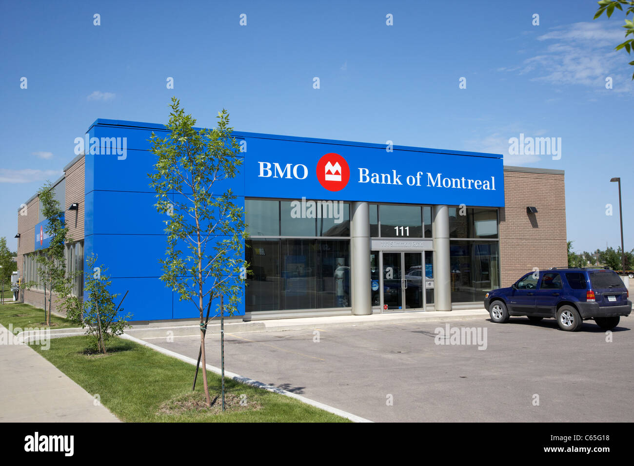 bank of montreal branch in new residential area Saskatoon Saskatchewan Canada - Stock Image