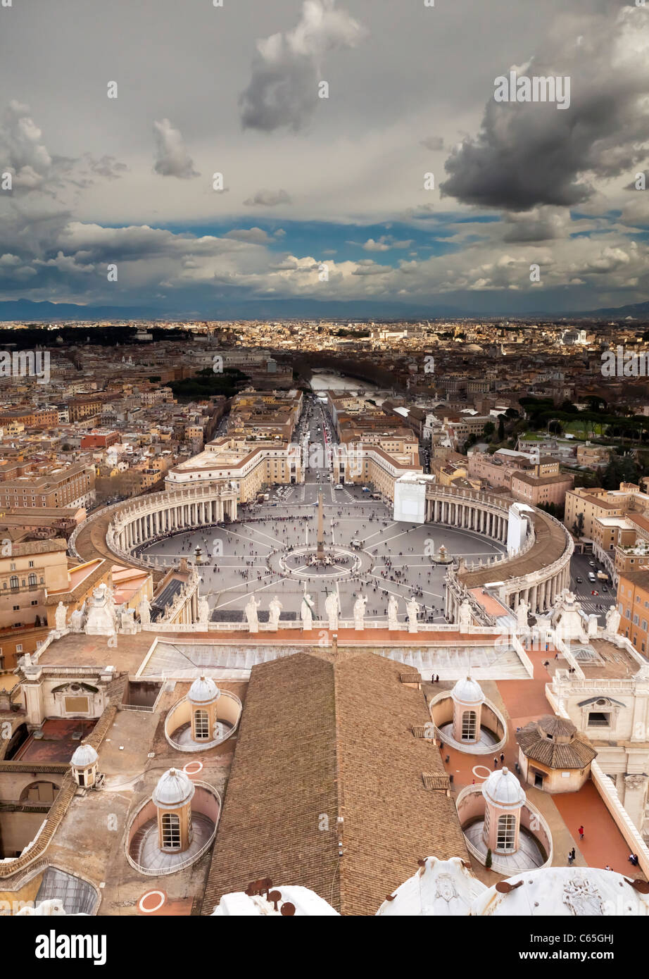The view over Rome from the top of St Peters Dome, Vatican City. Stock Photo