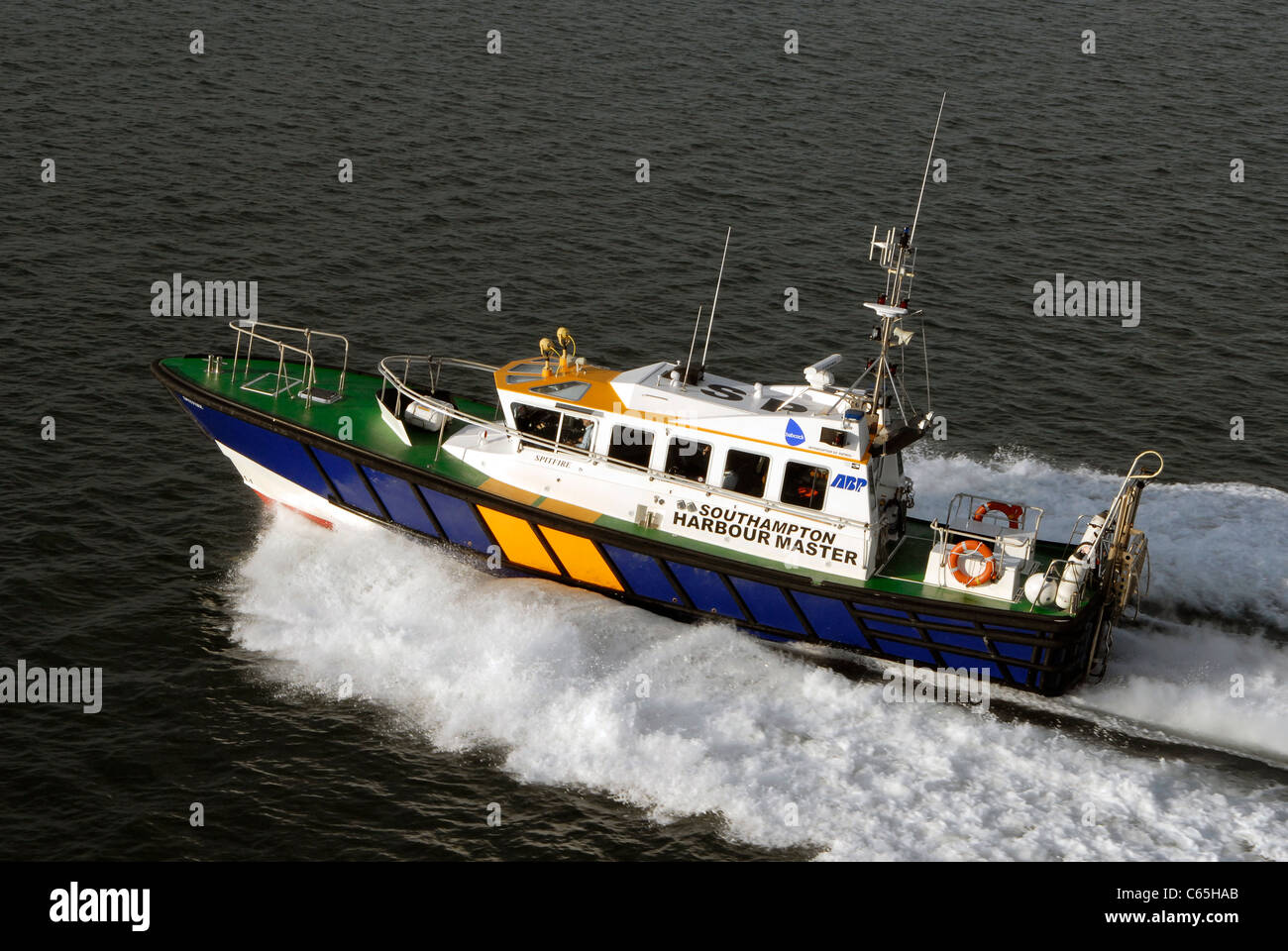 Southampton Harbour Master patrol launch at speed - aerial view - Stock Image
