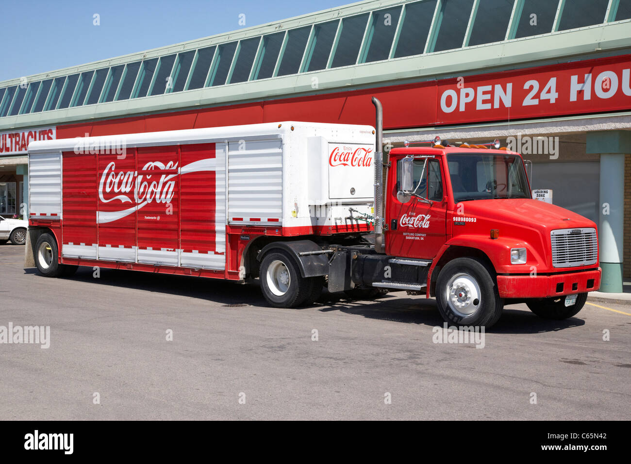 coca-cola delivery truck Saskatoon Saskatchewan Canada - Stock Image