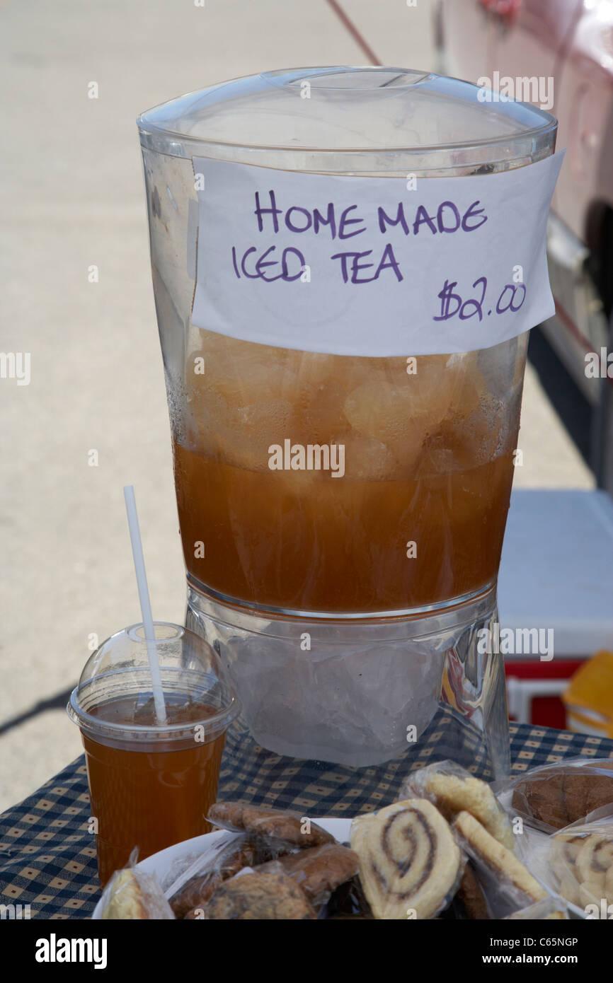 home made iced tea for sale on a stall at a farmers market Saskatoon Saskatchewan Canada - Stock Image