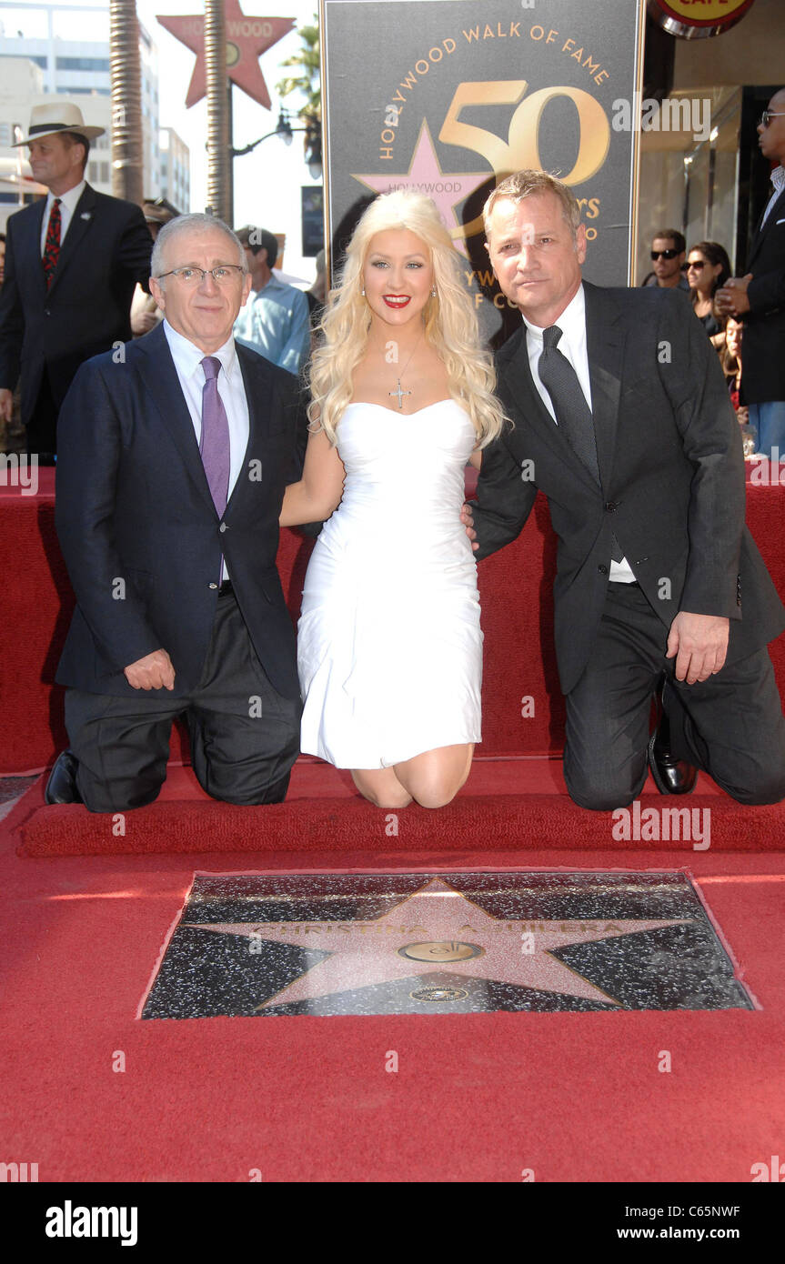Irving Azoff, Christina Aguilera, Clint Culpepper at the induction ceremony for Star on the Hollywood Walk of Fame - Stock Image