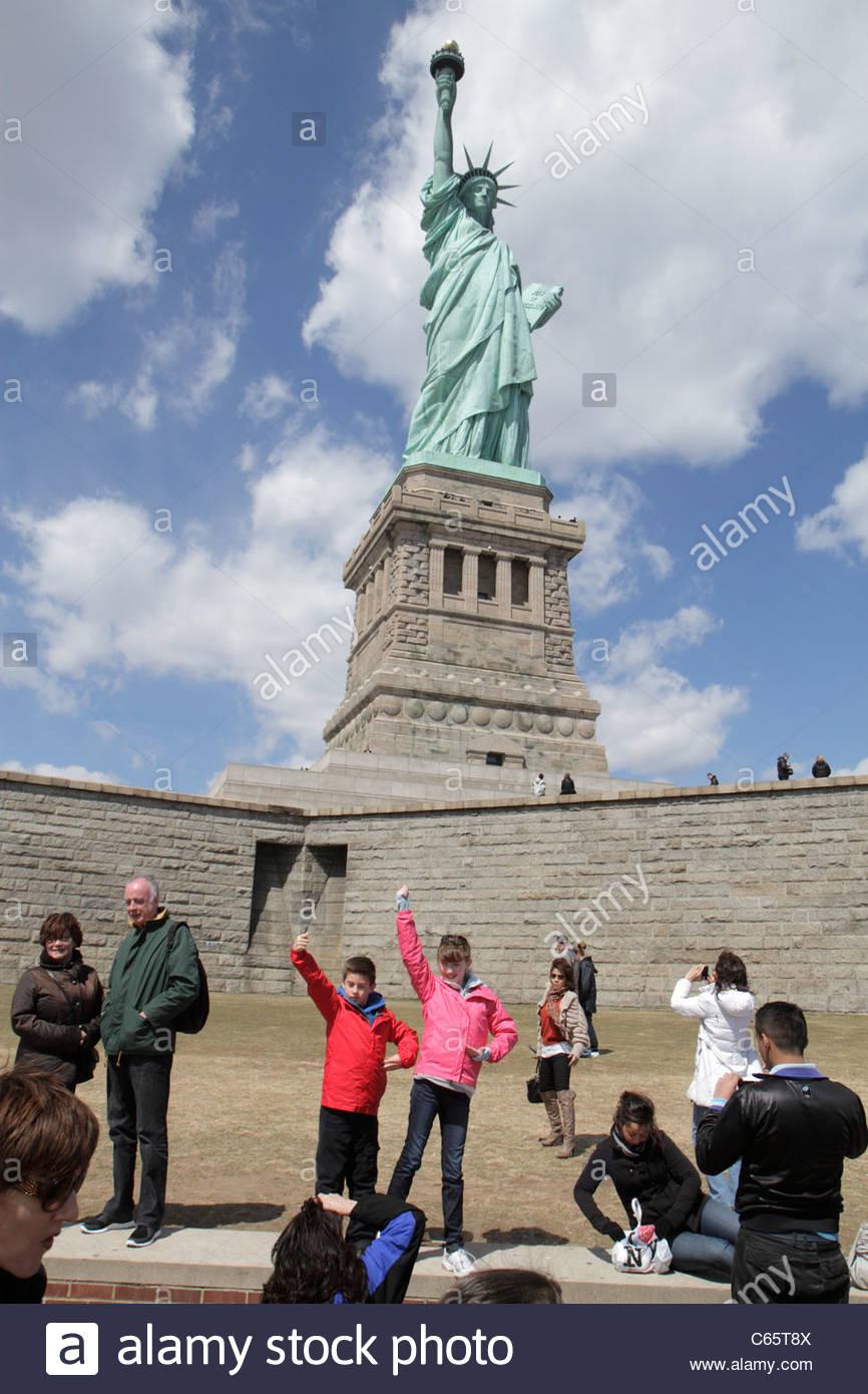New York New York City NYC Upper Bay Statue Cruises Statue of Liberty National Monument Liberty Island freedom symbol - Stock Image